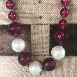 Vintage Baroque Pearl Fushia Beaded Necklace